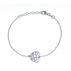 Bracelet argent rhodié 2,4g - cœur - 17+3cm