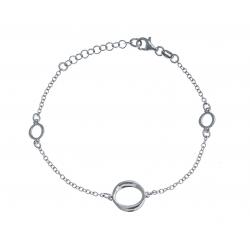 Bracelet argent rhodié 2,5g - 3 ronds - 17+3cm