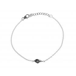 Bracelet argent rhodié 1,7g - perle véritable blanche - 17+3cm
