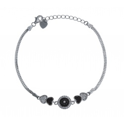 Bracelet argent rhodié 5g - zircons blancs et noirs - 16,5+3cm