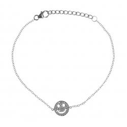 Bracelet argent rhodié 1,8g - smiley - zircons - 17+3cm