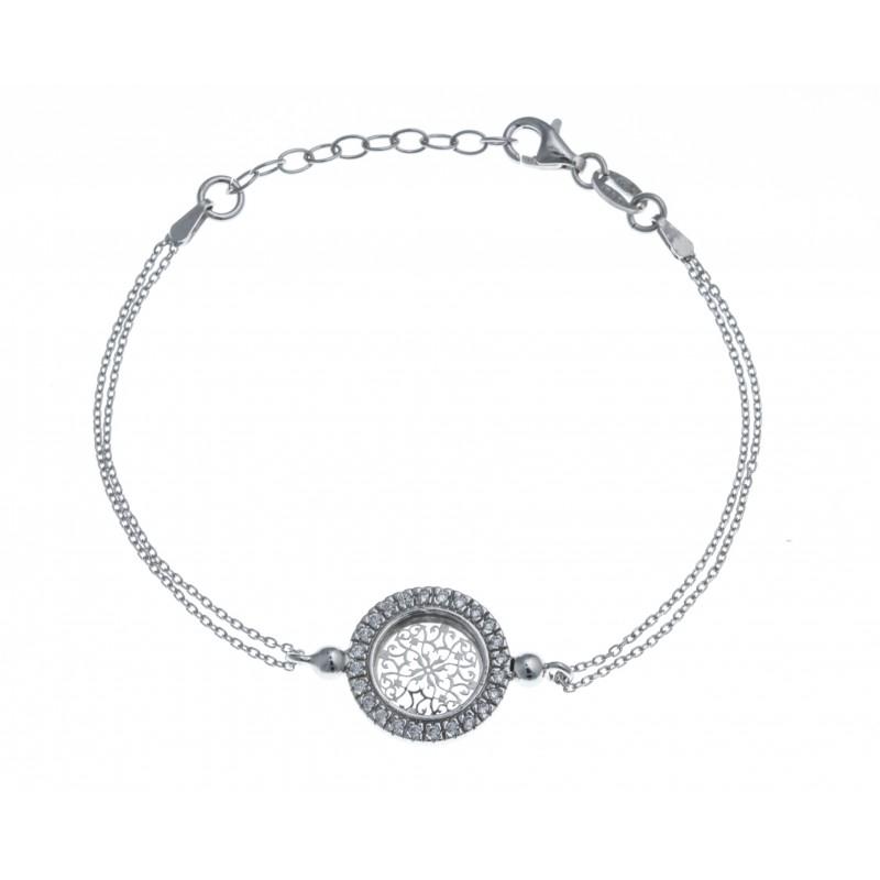 17 Bracelet Argent Zircons Rhodié Perles Rond Les 3 5g 3cm tQdCshr