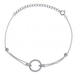 Bracelet argent thodié 2,4g - rond - zircons - 15+5cm