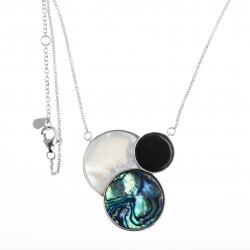Collier argent rhodié 9,1g - onyx - nacre blanche - nacre abalone - 40+2,5+2,5cm