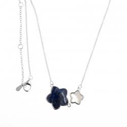 Collier argent rhodié 4g - lapis - nacre blanche - 40+2,5+2,5cm