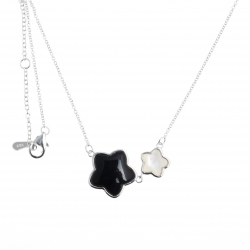 Collier argent rhodié 4g - onyx - nacre blanche - 40+2,5+2,5cm