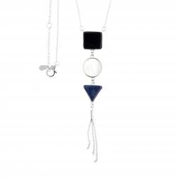 Collier argent rhodié 4,7g - onyx - nacre blanche - lapis - 45+2,5+2,5cm