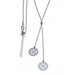 Collier argent rhodié 3,4g - ronds filigranés - 40+5cm
