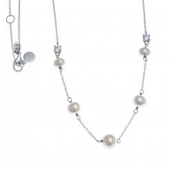 Collier argent rhodié 3,4g - perles véritables blanches -  zircons - 44+3cm