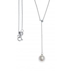 Collier argent rhodié 2,8g - perle véritable blanche - zircons - 45cm