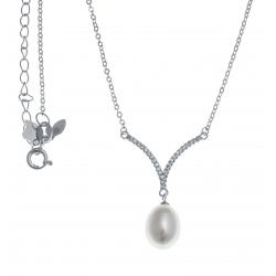 Collier argent rhodié 3,6g - perle véritable blanche -  zircons - 45+5cm