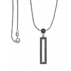 Collier argent rhodié 4,4g - marcassites - zircon imitation grenat - 40cm
