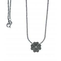 Collier argent rhodié 4g - trèfle à 4 feuilles - marcassites - 40cm