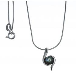 Collier argent rhodié 4,2g - nacre abalone - 40cm