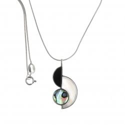 Collier argent rhodié 4,8g - onyx - nacre blanche - nacre abalone - 40cm