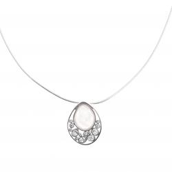 Collier argent rhodié 10g - zircons - quartz rose - 38+5cm