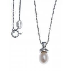 Collier argent rhodié 3,4g - perle véritable blanche -  zircons - 40cm