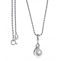 Collier argent rhodié 5g - perle véritable blanche -  zircons - 45cm