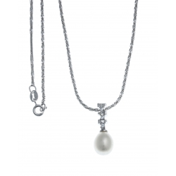 Collier argent rhodié 3g - perle véritable blanche -  zircons - 40cm
