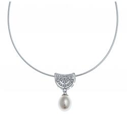 Collier argent rhodié 3g - perle véritable blanche - zircons - 38+5cm