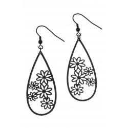 Boucles d'oreille  acier noir - fleurs