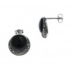 Boucles d'oreille argent rhodié 4g - marcassites - onyx