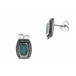 Boucles d'oreille argent rhodié 2,7g - marcassite - turquoise