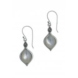 Boucles d'oreille argent rhodié 3g - nacre blanche - marcassites