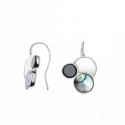 Boucles d'oreille argent rhodié 2,5g - onyx - nacre blanche - nacre abalone