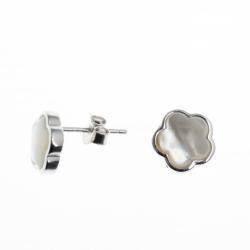 Boucles d'oreille argent rhodié 1,8g - nacre blanche