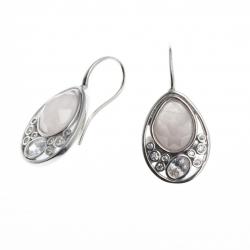 Boucles d'oreille argent rhodié 4g- zircons - quartz rose