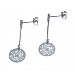 Boucles d'oreille argent rhodié 1,3g - rond filigrané - fil 2cm