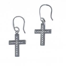 Boucles d'oreille argent rhodié 1,6g - croix