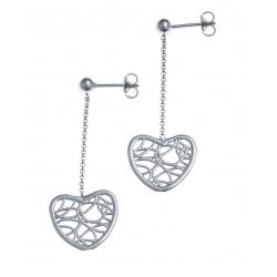 Boucles d'oreille argent rhodié 2,3g - coeur filigrané - pendante fil 2cm