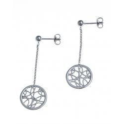 Boucles d'oreille argent rhodié 2g - rond filigrané - pendante fil 2cm