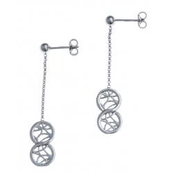 Boucles d'oreille argent rhodié 2g - infini filigrané - pendante fil 2cm
