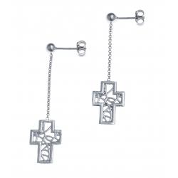 Boucles d'oreille argent rhodié 2,2g - croix filigrané - pendante fil 2cm