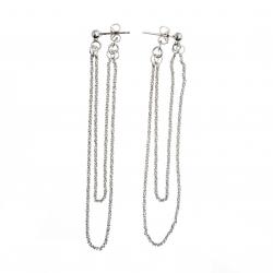 Boucles d'oreille argent rhodié 4g  2 fils longueur max 7cm