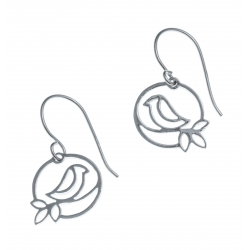 Boucles d'oreille argent rhodié 1,5g - oiseau