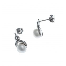 Boucles d'oreille argent rhodié 2,2g - perle véritable blanche - zircons