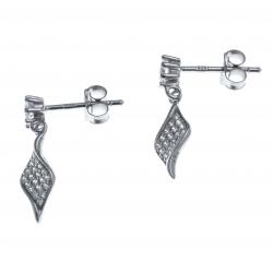 Boucles d'oreille argent rhodié 1,4g - zircons