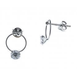 Boucles d'oreille argent rhodié 1g - zircons