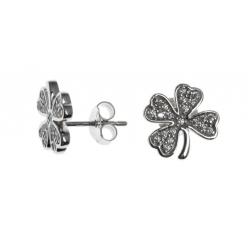 Boucles d'oreille argent rhodié 1,8g - trèfle à 4 feuilles - zircons