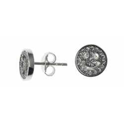 Boucles d'oreille argent rhodié 1,3g - smiley - zircons