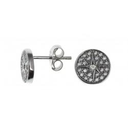 Boucles d'oreille argent rhodié 1,5g - zircons