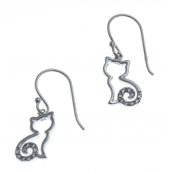 Boucles d'oreille argent rhodié 2,2g - chat - zircons