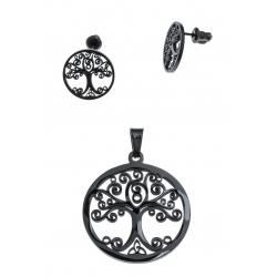 Parure acier noir arbre de vie - pendentif + boucles d'oreilles assorties