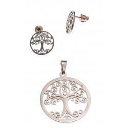 Parure acier rosé arbre de vie - pendentif + boucles d'oreilles assorties