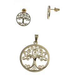 Parure acier doré arbre de vie - pendentif + boucles d'oreilles assorties