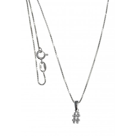 Collier argent rhodié 2,7g - hashtag - zircons - 40cm